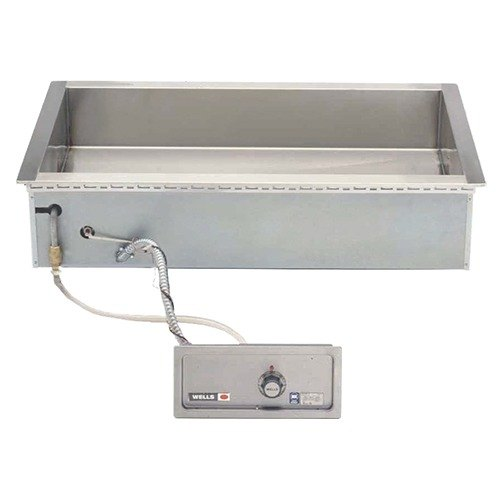 Wells HT400AF Bain Marie Style 4 Pan Drop-In Hot Food Well with Drain and AutoFill - Top Mount, Thermostat Control