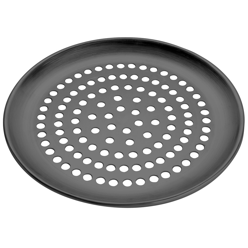 "American Metalcraft HCCTP17SP 17"" Super Perforated Coupe Pizza Pan - Hard Coat Anodized Aluminum"