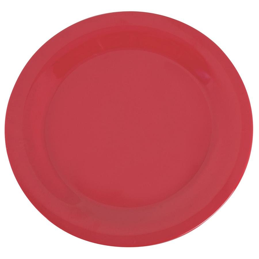 "Carlisle 3300205 Sierrus 10 1/2"" Red Narrow Rim Melamine Plate - 12/Case"