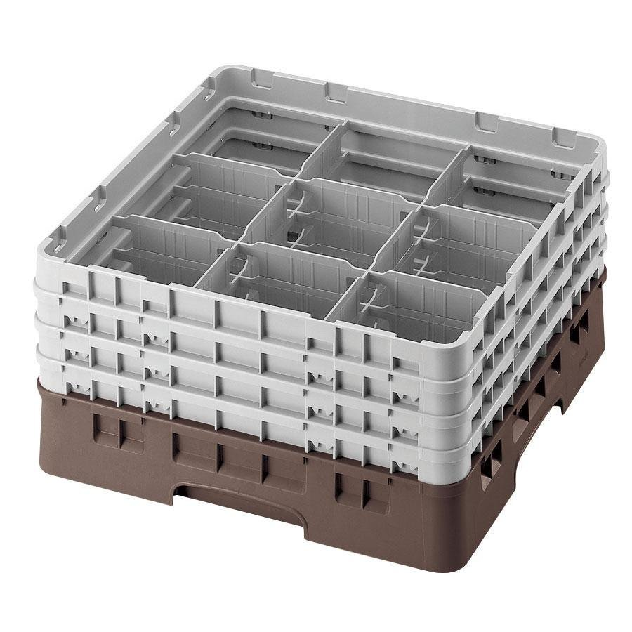 "Cambro 9S638167 Brown Camrack 9 Compartment 6 7/8"" Glass Rack"