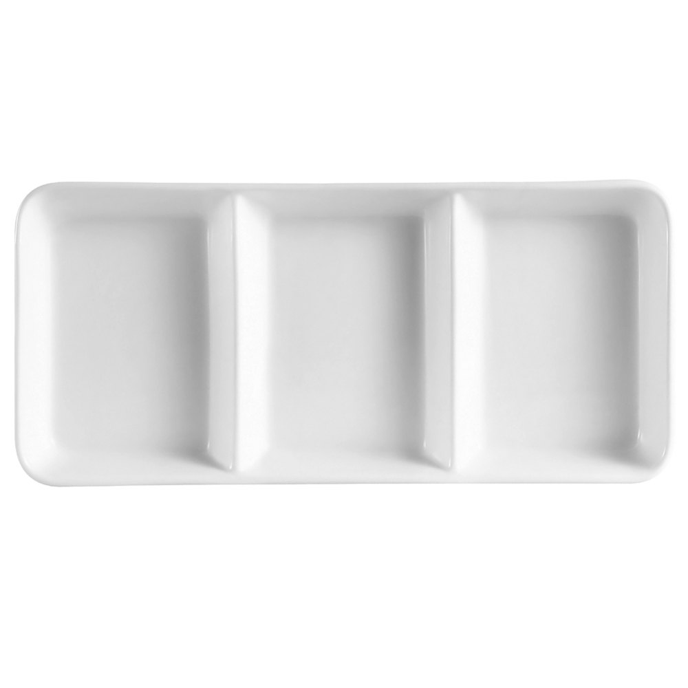 "CAC CN-3T13 12 1/2"" x 5 1/2"" x 1 1/8"" Porcelain Rectangular 3 Compartment Tasting Tray - 12/Case"