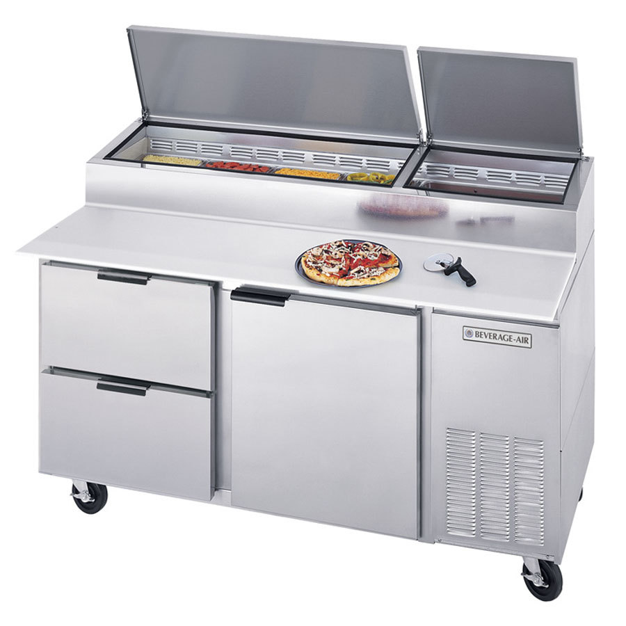 Beverage air dpd67 2 one door two drawer pizza prep table for Door 2 door pizza
