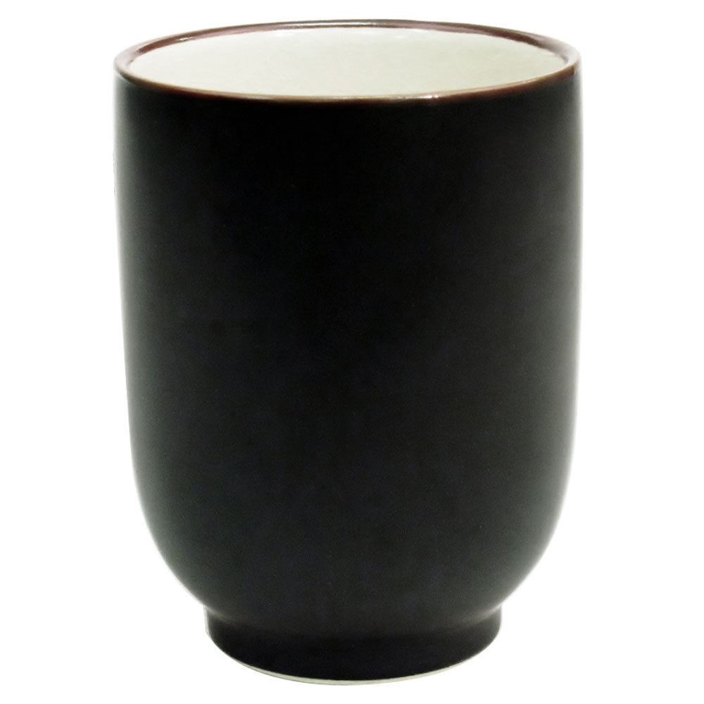 CAC 666-1-W Japanese Style 8 oz. China Cup - Black Non-Glare Glaze / Creamy White - 36/Case