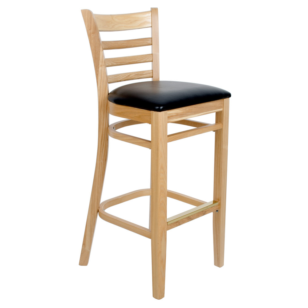 Counter Height Ladder Back Chairs : ... Bar Height Wooden Ladder Back Chair with Padded Seat - Natural Finish