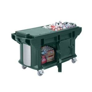 Cambro VBRUTHD5519 Kentucky Green 5' Versa Ultra Work Table with Storage and Heavy-Duty Casters