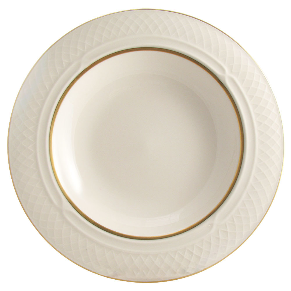 Homer Laughlin 1420-0356 Westminster Gothic Off White 10.5 oz. Wide Rim China Soup Bowl - 24/Case