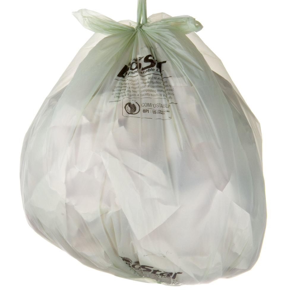 "33 Gallon 33"" X 39"" Compostable Trash Can Liner 1 Mil - 100 / Case"