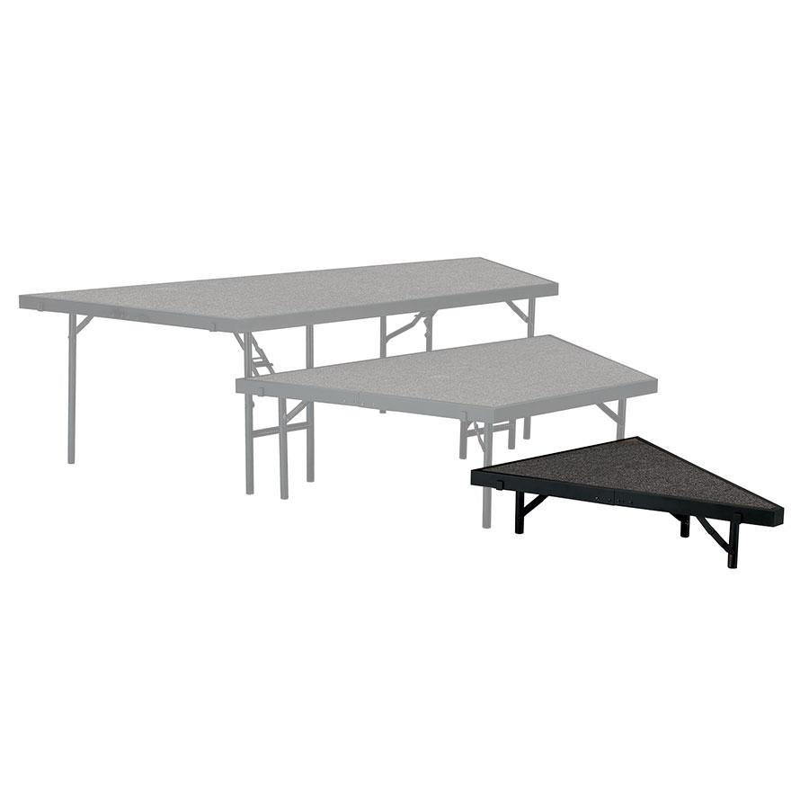 "National Public Seating SP368C Portable Stage Pie Unit with Gray Carpet - 36"" x 8"""