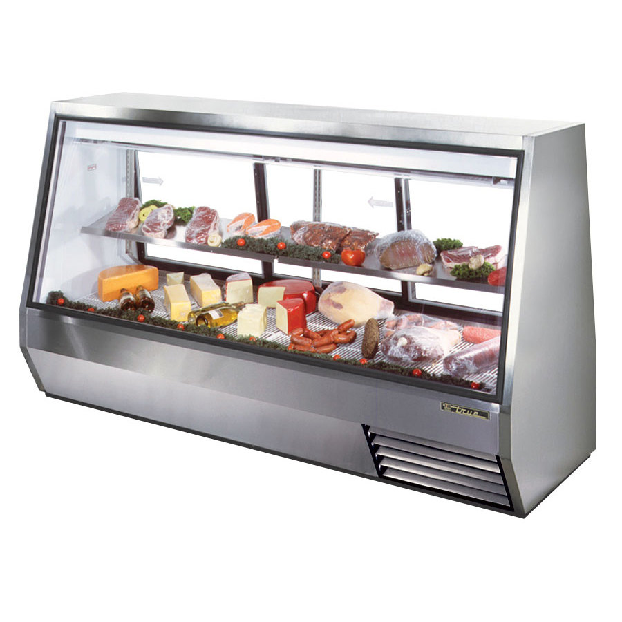 "True TDBD-96-3 96"" Three Door Double Duty Refrigerated Deli Case - 63.5 Cu. Ft."
