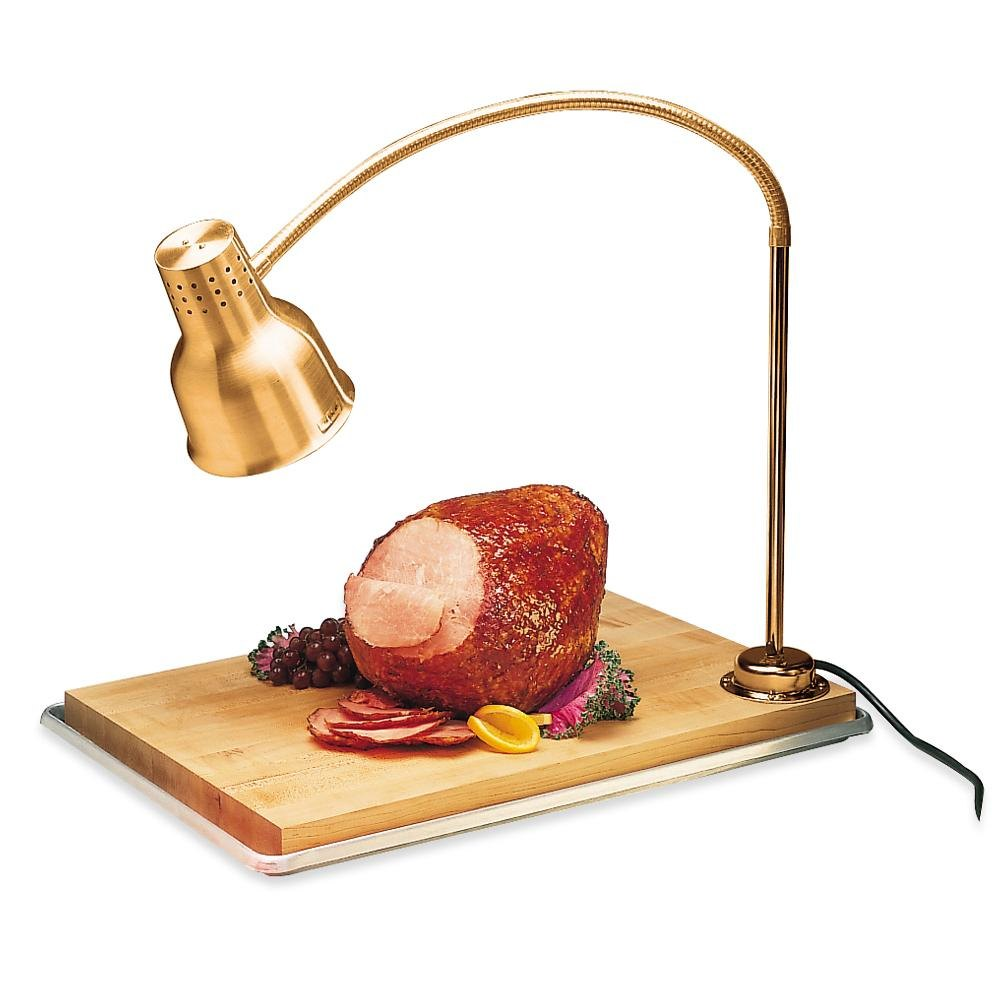 Carlisle HL8185B FlexiGlow 24 inch Single Arm Aluminum Heat Lamp with Maple Cutting Board and Drip Pan - 120V