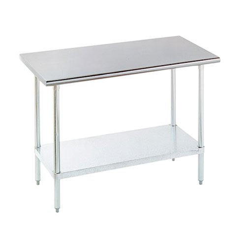 "16 Gauge Advance Tabco SLAG-242 24"" x 24"" Stainless Steel Work Table with Stainless Steel Undershelf"