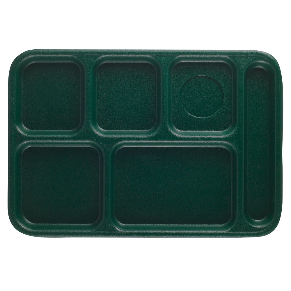 Cambro BCT1014119 Sherwood Green Budget 6 Compartment Serving Tray - 24/Case