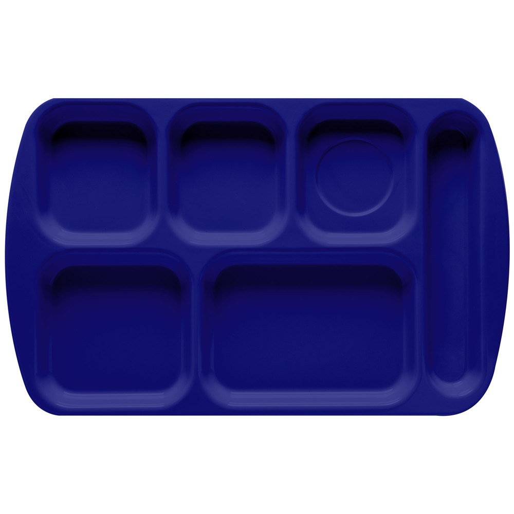 "GET TR-151 Navy Blue Melamine 10"" x 15 1/2"" Right Hand 6 Compartment Tray - 12/Pack"