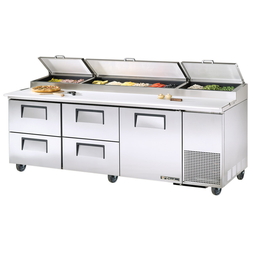 "True TPP-93D-4 93"" Refrigerated Pizza Prep Table with One Door and Four Drawers"