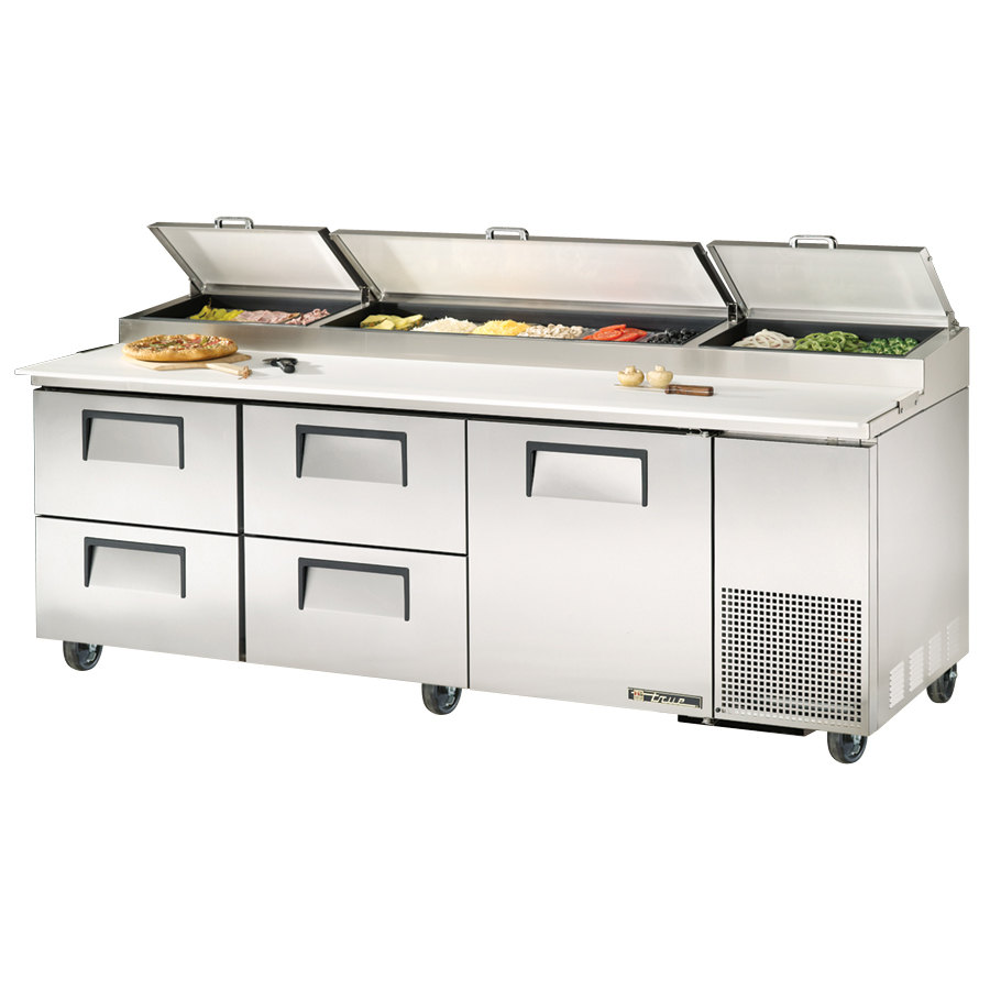 True TPP-93D-4 93 inch Refrigerated Pizza Prep Table with One Door and Four Drawers