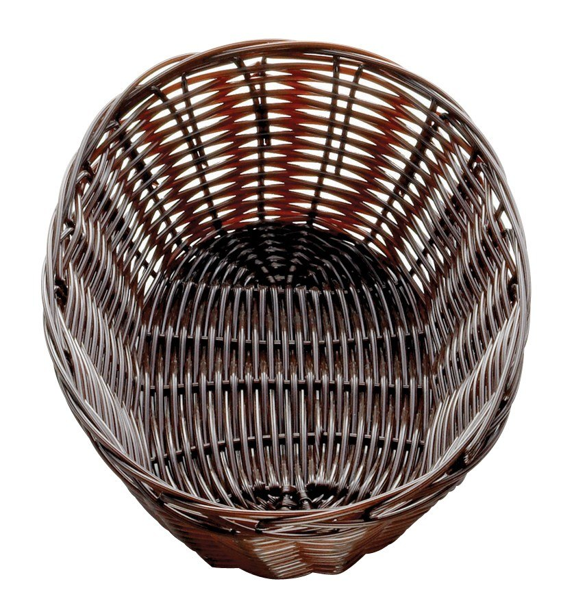 Tablecraft 1474 Brown Oval Rattan Basket 9 inch x 6 inch x 2 1/4 inch 12 / Pack