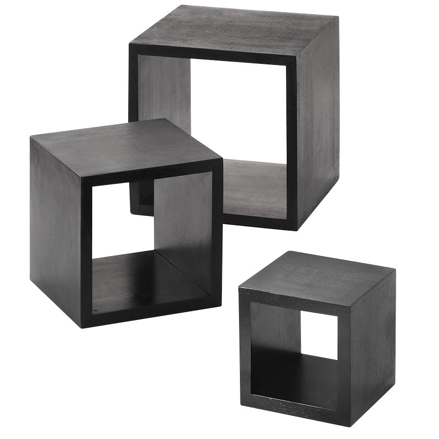 Main Picture - American Metalcraft RSB1 Black 3 Piece Square Wood Riser