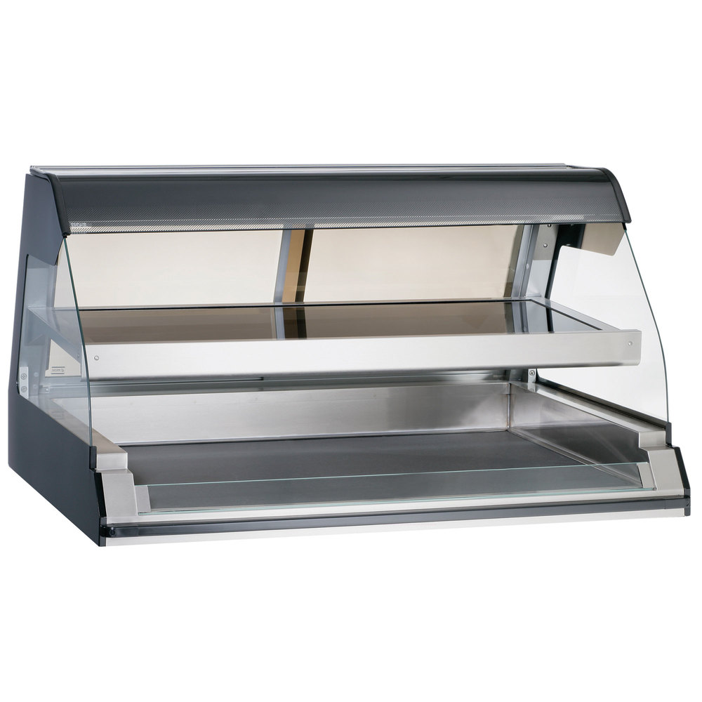 Alto-Shaam ED2-48/2S BK Black Two-Tiered Heated Display Case with Curved Glass - Self Service 48""
