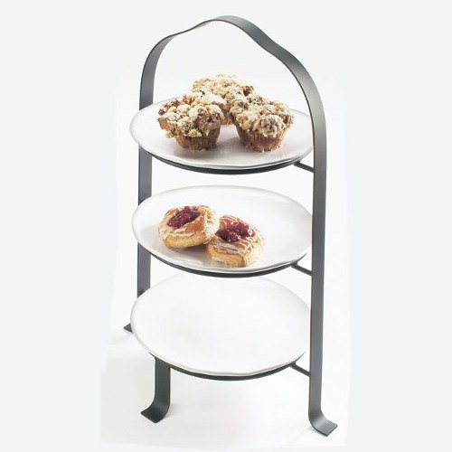 Cal Mil 1585-12-74 Silver Steel Soho Tiered Plate / Bowl Display – 16 3/4 inch x 13 inch x 24 3/4 inch