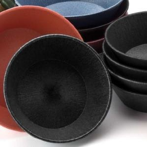 "HS Inc. HS1012 8"" x 2 1/4"" Charcoal Polyethylene Round Basket - 24/Case"