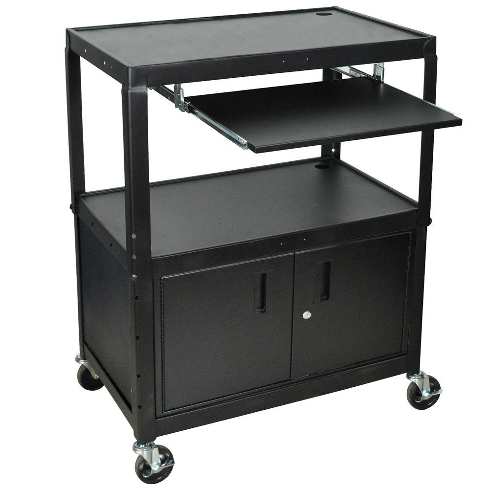 Luxor Kitchen Cabinets: Luxor AVJ42XLKBC Adjustable Height Black A/V Cart With