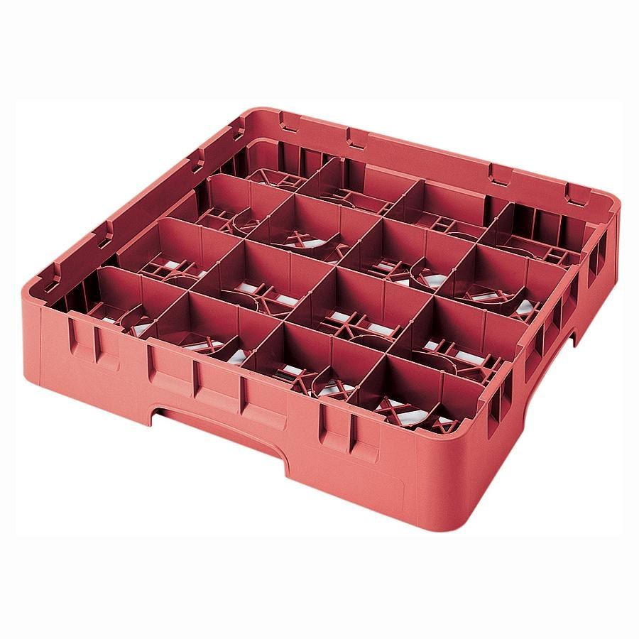"Cambro 16S434163 Camrack 5 1/4"" High Red 16 Compartment Glass Rack"