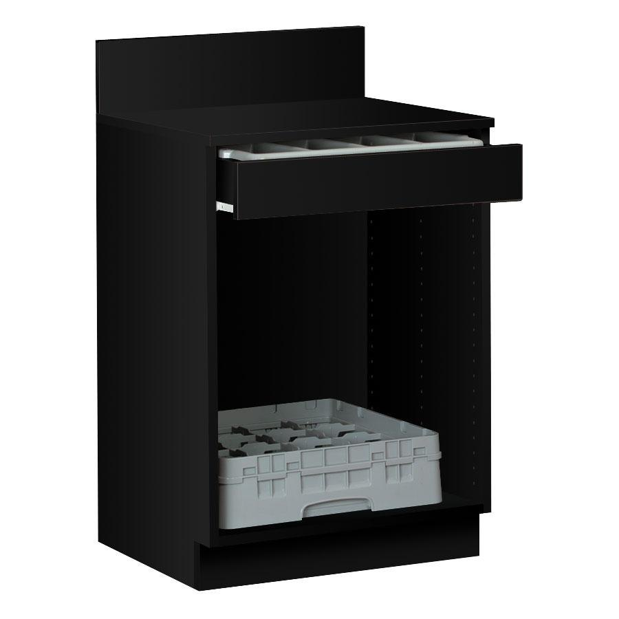 "24"" Black Waitress Station with Drawer and Adjustable Shelf"
