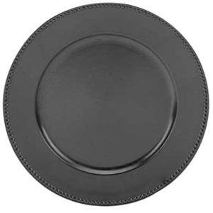 "Tabletop Classics TRB-6655 13"" Black Round Acrylic Charger Plate with Beaded Rim"