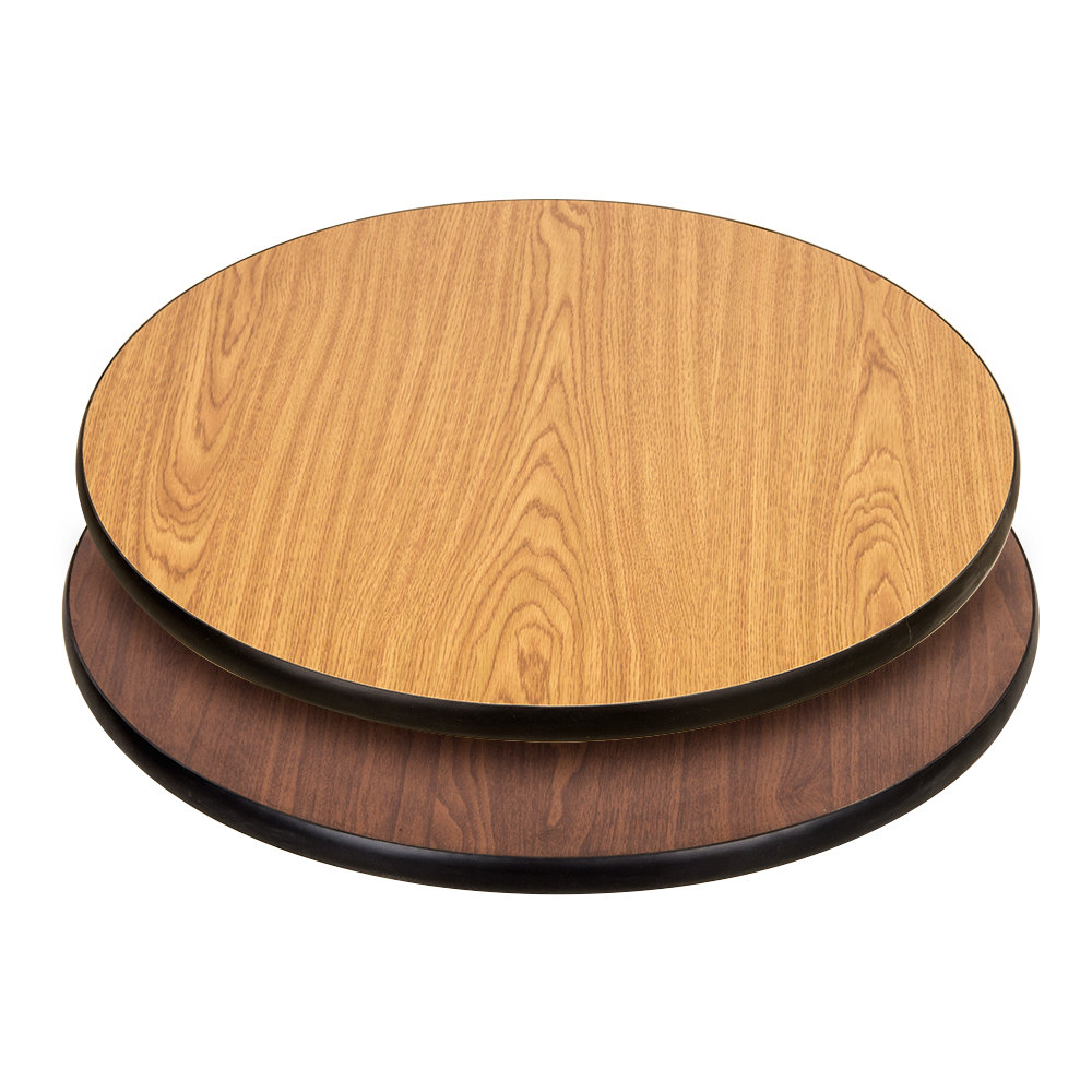 "Lancaster Table & Seating 24"" Laminated Round Table Top Reversible Walnut / Oak"