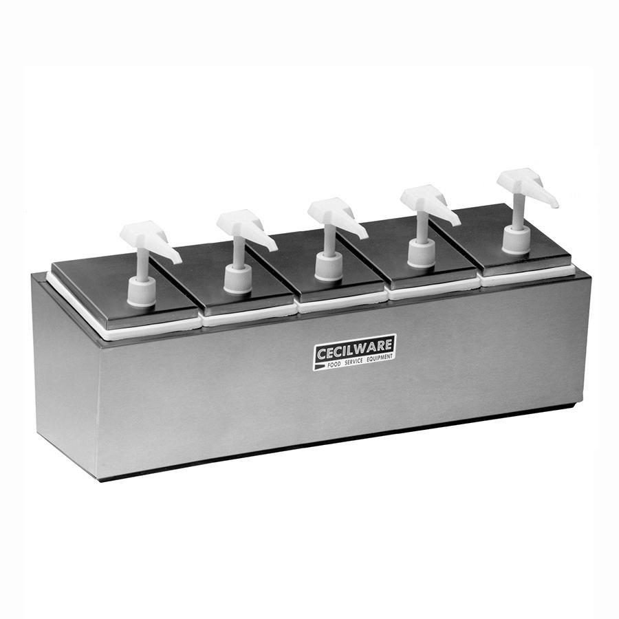 Cecilware 544E Economy Pumps Stainless Steel Condiment Rail with Five Plastic Pumps, Jars, and Covers