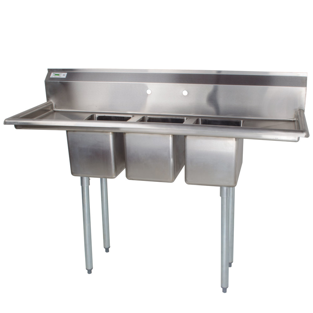 Regency 16 Gauge Three Compartment Stainless Steel Commercial Sink with Two Drainboards - 58 inch Long, 10 inch x 14 inch x 10 inch Compartments