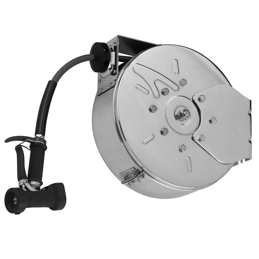 T&S B-7242-C05 50' Enclosed Epoxy Coated Steel Hose Reel with Front Trigger Water Gun