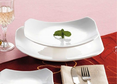 "CAC RCN-H12 10 1/2"" x 7 3/4"" Bright White China Rectangular Tasting Platter - 24/Case"