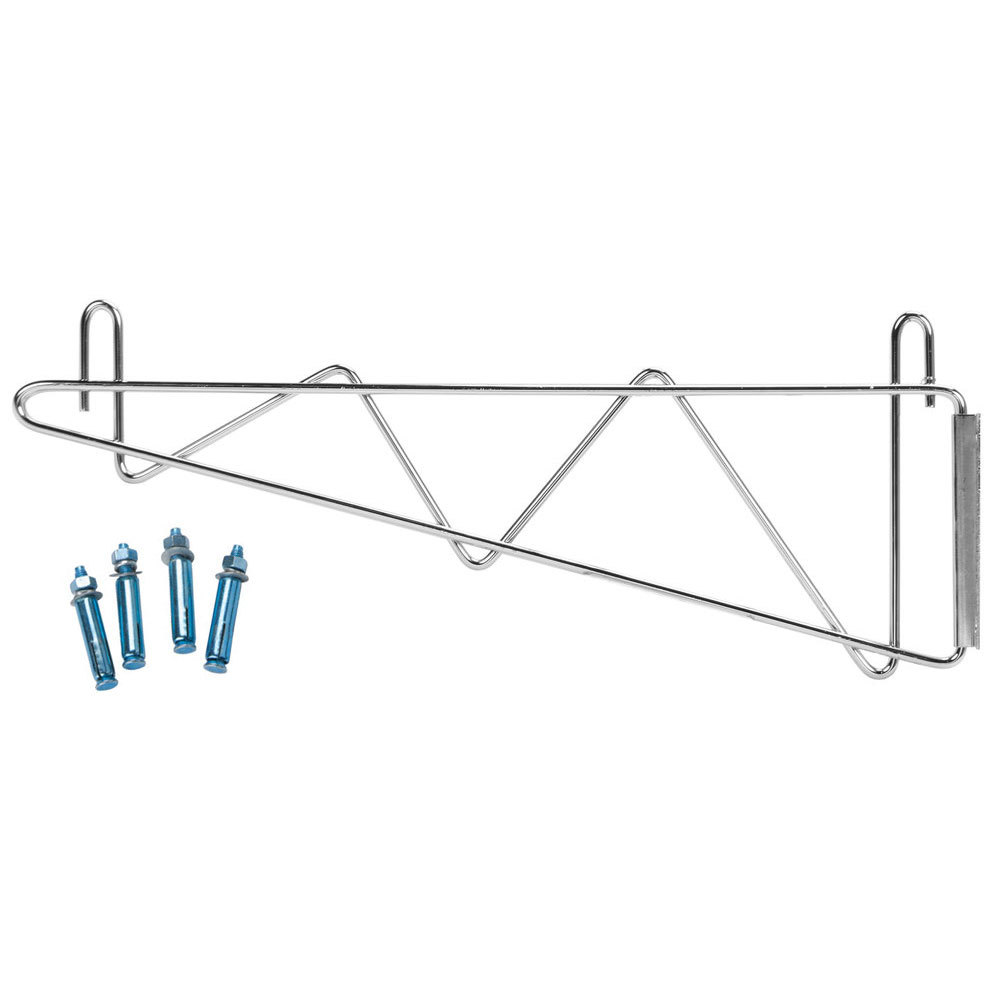 "Regency 18"" Deep Wall Mounting Bracket Set for Chrome Wire Shelving - 2/Pack"