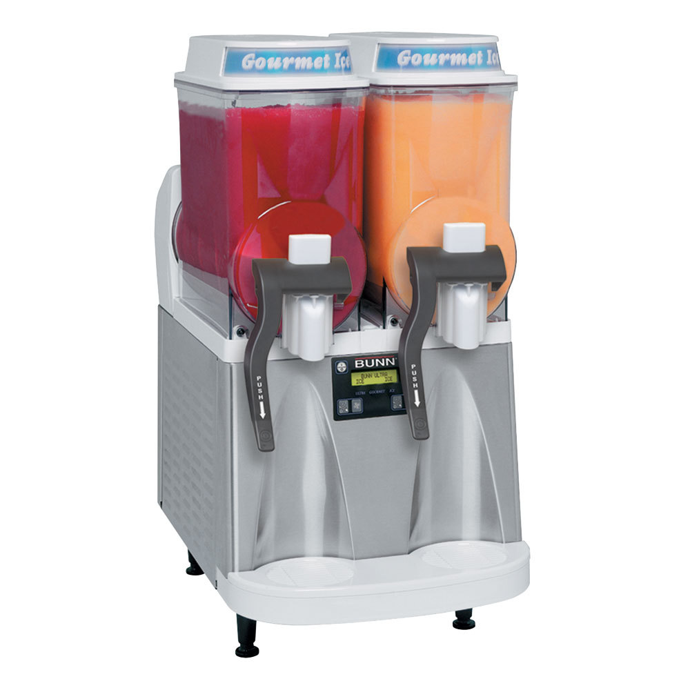 Bunn Ultra-2 Slushy / Granita Frozen Drink Machine with 2 Hoppers - White & Stainless Steel 120V (Bunn 34000.0012)
