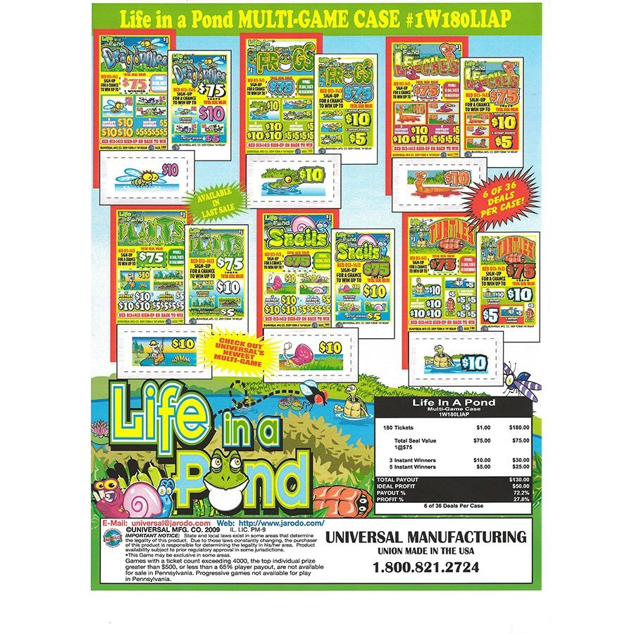 """Life in a Pond"" 1 Window Pull Tab Tickets - 180 Tickets Per Deal - Total Payout: $130 at Sears.com"