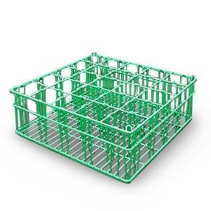 "16 Compartment Catering Glassware Basket - 4 3/8"" x 4 3/8"" Compartments"