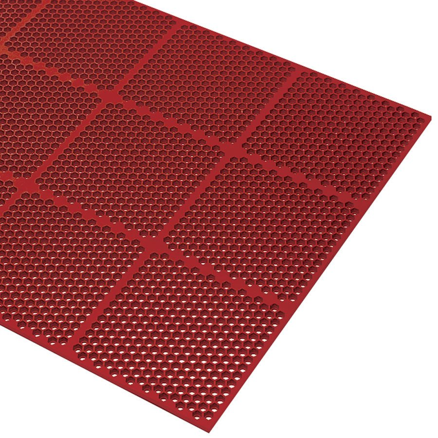 "Cactus Mat 2535-R33 Honeycomb 3' x 3' Red Grease-Resistant Anti-Fatigue Rubber Mat - 9/16"" Thick"