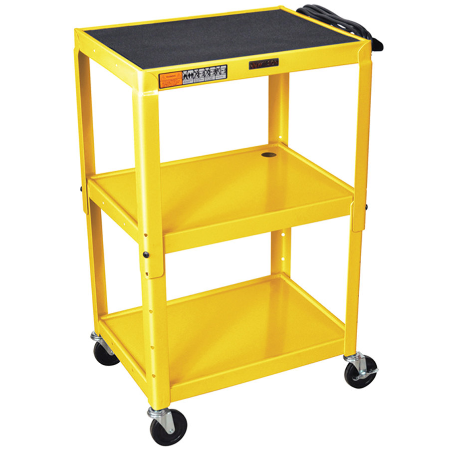 Luxor W42aye Yellow Metal 3 Shelf A V Utility Cart 18 Quot X