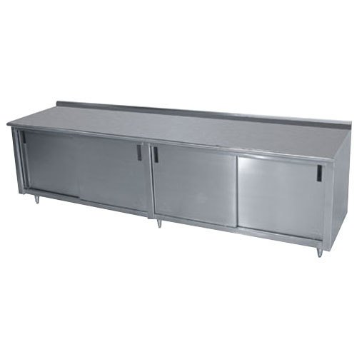 "Advance Tabco CF-SS-2412M 24"" x 144"" 14 Gauge Work Table with Cabinet Base and Mid Shelf - 1 1/2"" Backsplash"