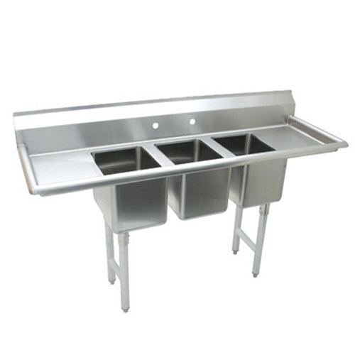 "Advance Tabco K7-CS-21 58"" Three Compartment Convenience Store Sink with Two Drainboards"
