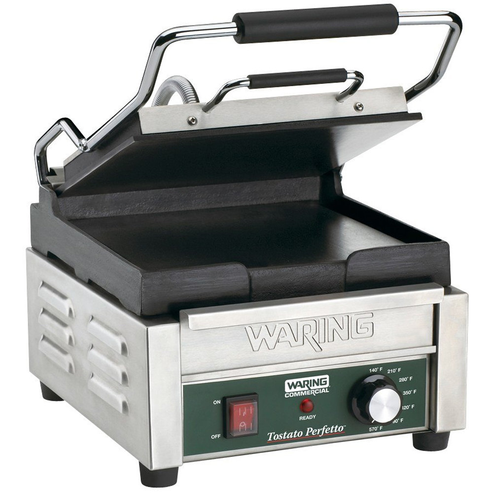 "Waring WFG150 9 3/4"" x 9 1/4"" Tostato Perfetto Smooth Top & Bottom Panini Sandwich Grill 120V"