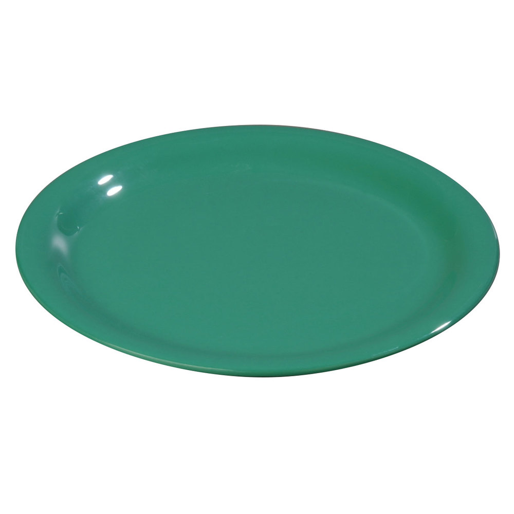 "Carlisle 3300409 Sierrus 9"" Meadow Green Narrow Rim Melamine Plate - 24/Case"