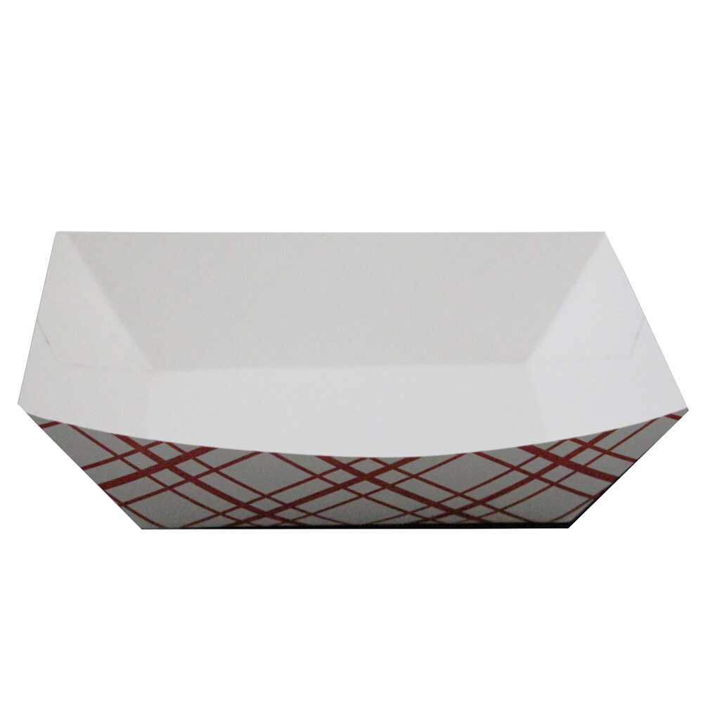 1 lb. Red Check Paper Food Tray 1000 / Case