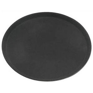Oval 27 inch Black Non-Skid Serving Tray
