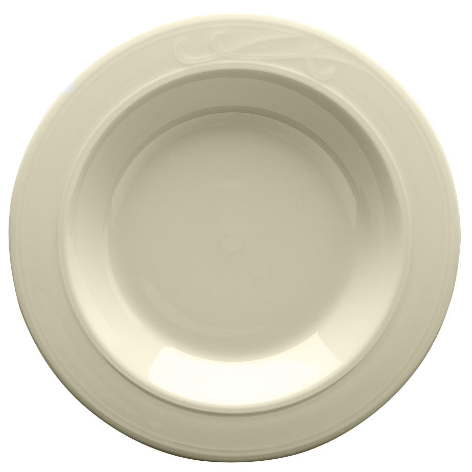 "Homer Laughlin 6111000 Lyrica 9"" Ivory (American White) China Soup Bowl - 24/Case"