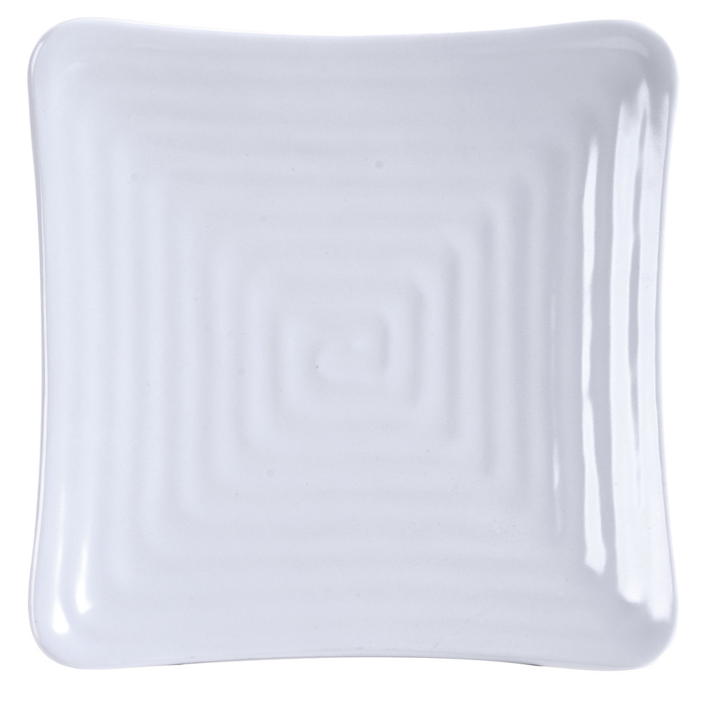 "GET ML-65-W Milano 13 3/4"" White Melamine Square Plate - 6 / Pack"