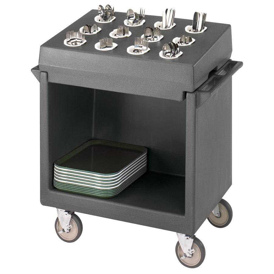 Cambro TDCR12191 Granite Gray Tray and Dish Cart with Cutlery Rack and Protective Vinyl Cover