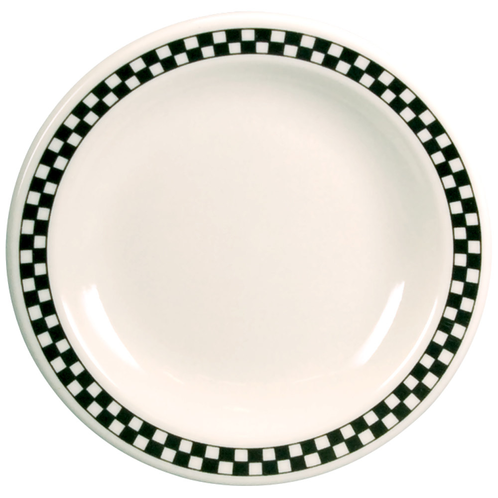 "Homer Laughlin Black Checkers 5 1/2"" Creamy White / Off White Round China Plate - 36/Case"