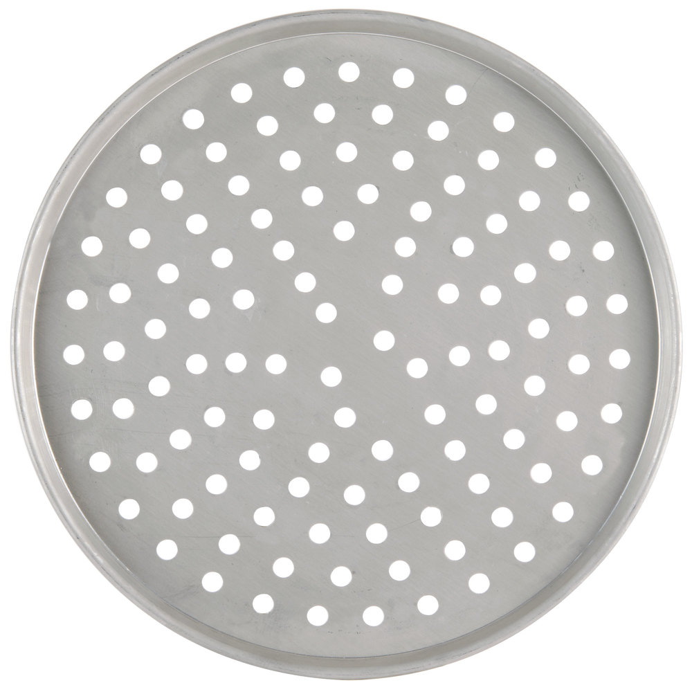 "American Metalcraft T2009P 9"" Perforated Tin-Plated Steel Pizza Pan"